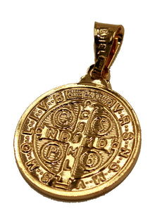 San Benito 18k Gold Plated Pendant with 20 inch Chain- St. Benedictus Medal