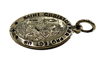 St Christopher Oval Medal .925 Sterling Silver - Saint Christopher Protect Us