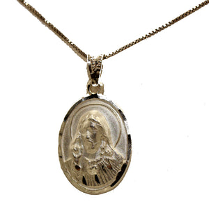 Christ Sacred Heart .925 Sterling Silver Pendant Medal with 20 inch Chain