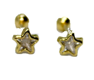 Star 5mm CZ Screw Back Earring Kids Earring 18k Gold Plated Earrings