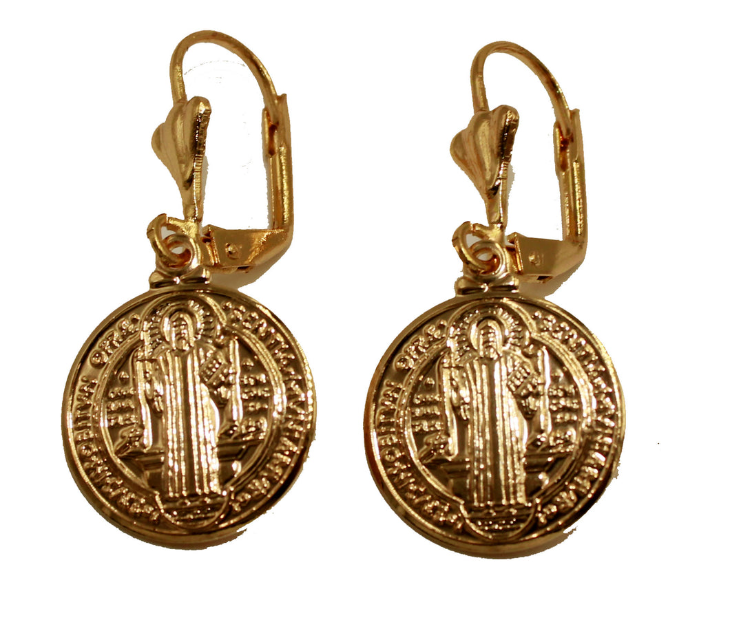 San Benito Leverback Dangle Earring 18k Gold Plated French Clasp - St Benedict