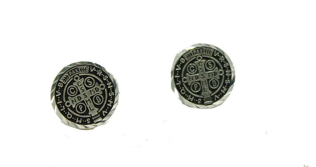 San Benito Round Stud Earring .925 Sterling Silver - St Benedict Silver Earrings