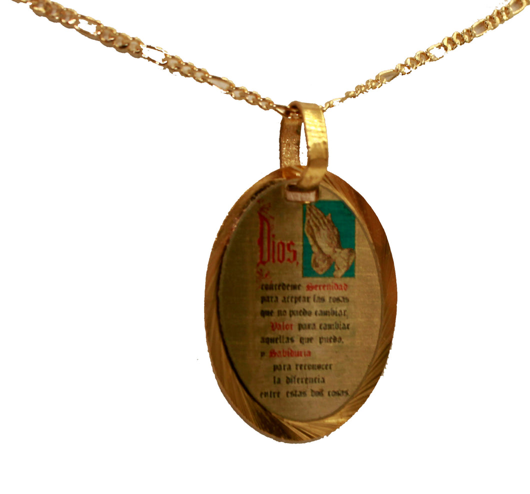 Serenity Prayer Medal 14k Gold Plated Medal with Chain - Oracion Serenidad