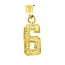 Number Charm Pendant 10k Yellow Gold Charm - 1, 2 , 3 , 4, 5 , 6 ,7, 8 & 9
