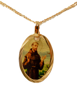 San Francisco De Asis Medal - St Francis Assisi Medal 14k Gold Plated with Chain