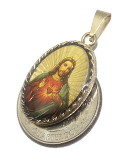 Sacred Heart of Jesus Oval Medal 18k Gold Plated Pendant and 20 inch Chain