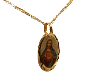 Sacred Jesus Heart Mini Medal 18K Gold Plated with 18 inch Chain - Sagrado Medal