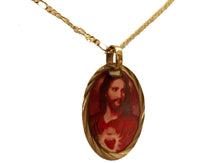 Sacred Heart of Jesus - Sagrado Corazon 14k Gold Plated Medal with 18 Inch Chain
