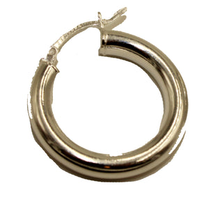 Round 4mm X 25mm Hoops .925 Sterling Silver Hoops - Shinny Hoop 4mm Earrings