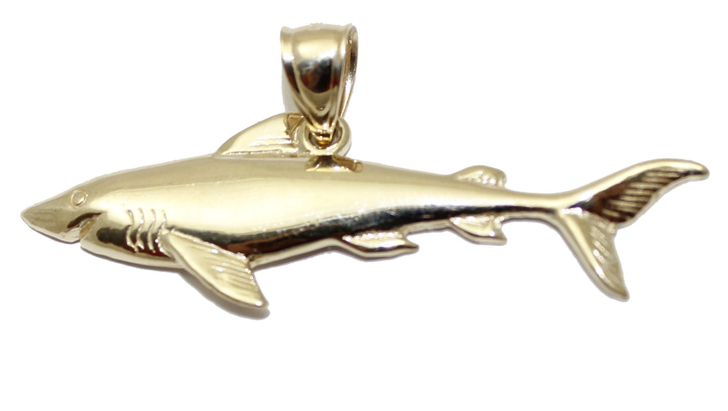 Shark Pendant 10k Solid Yellow Gold Pendant - Shark Gold Pendant