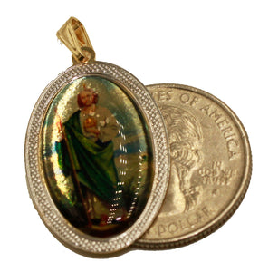 San Judas Tadeo Saint Jude Medal 18K Gold Plated Medalla with 20 inch Chain