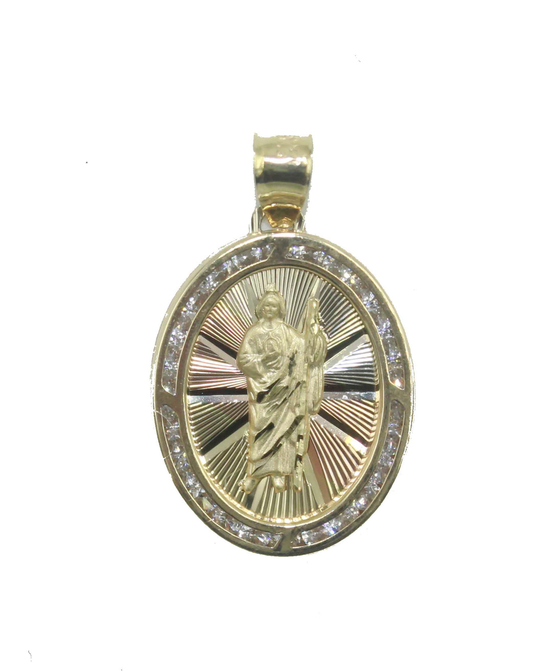 San Judas Tadeo 14k Yellow Gold Medal - St. Jude Thaddeus 14k Yellow Gold Medal