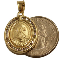 Virgen San Juan de los Lagos Medal with CZ Bezel with 20 inch Chain