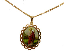San Judas Tadeo Manto Rojo 18K Gold Plated Necklace with 20 inch Chain