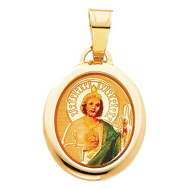 San Judas Tadeo 14k Yellow Gold Medal - St. Jude Thaddeus14k Yellow Gold Medal