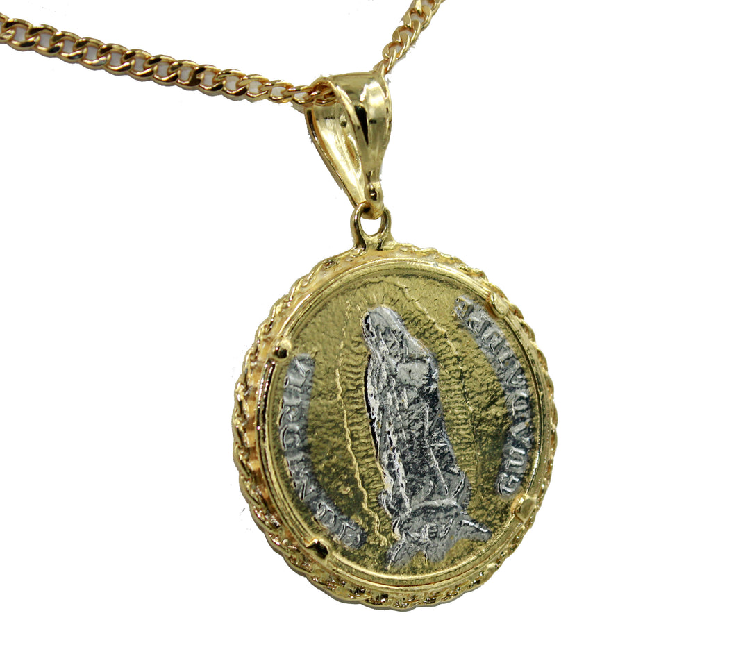 Virgen de Guadalupe and San Judas Coin Medal 18K Gold Plated with 24 inch chain