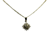 Sun Charm 18k Gold Plated Pendant with 20 inch Chain - Sun Gold Plated Necklace