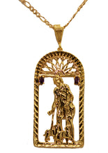 San Lazaro Cuba Babalu Aye with Purple CZ and 22 inch Chain 18K Gold Plated
