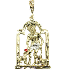 San Lazaro Cuba Babalu Aye with Red CZ and 22 inch Chain 18k Gold Plated