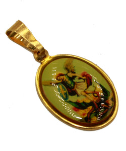 St. Michael Archangel Pendant - San Miguel 18K Gold Plated with 20 inch Chain