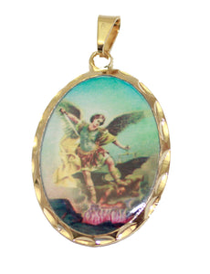 St. Michael Archangel Pendant with 20 inch Chain  - San Miguel Arcangel 18k Gold Plated Pendant