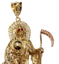 Santa Muerte Gold Plated Pendant with CZ with 24 inch Chain - Grim Reaper, Holy Death Necklace