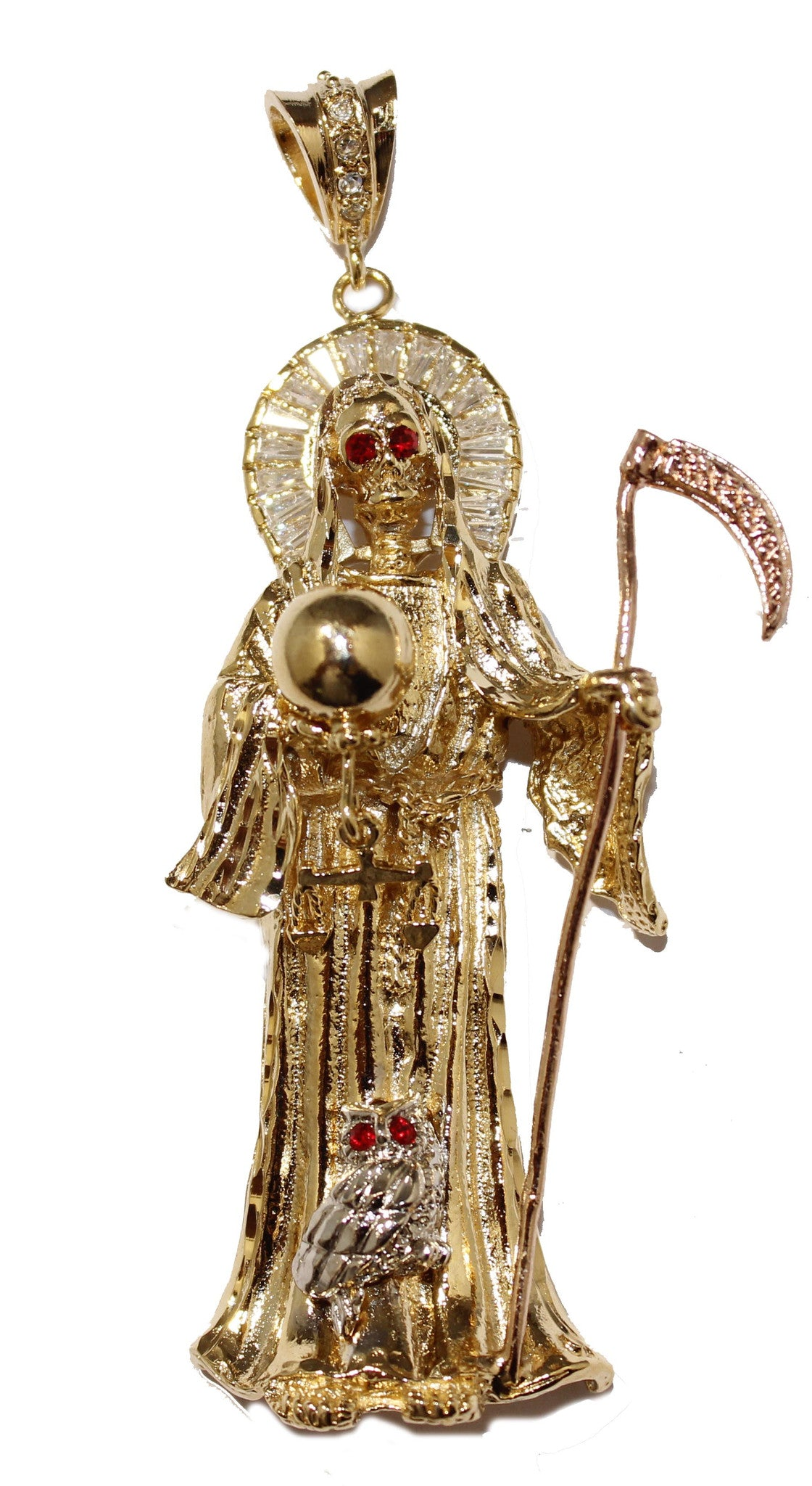 Santa muerte gold plated pendant with cz with 24 inch chain mozeypictures Gallery
