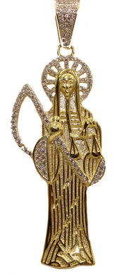 Santa Muerte Grim Reapear Holy Death .925 Sterling Silver Gold Plated with CZ