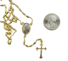 San Miguel Arcangel 18k Gold Plated Rosary 22 inch - Saint Michael Archangel