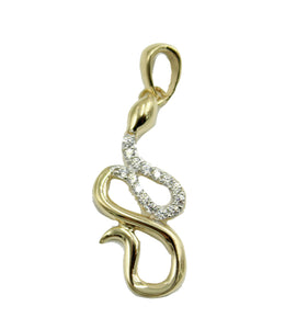 Snake Pendant 14k Solid Yellow Gold Pendant with CZ - Snake CZ 14k Gold Pendant