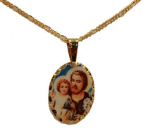 San Jose Medal 18k Gold Plated with 18 inch Chain - St Joseph Medal with 18 inch