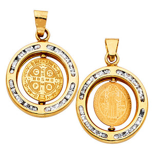 San Benito 14k Gold CZ Round Medal - St.Benedict Real Gold Oro 14K Two Sided Medal