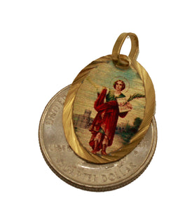 Saint Pancras Medal Pendant 14k Gold Plated Medal with Chain - San Pancracio