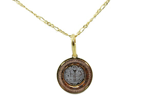 San Benito Round Three Tone Medal with 18 inch Chain - St Benedict Necklace