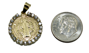 San Benito Round Medal with Rhinestone and 20 inch Chain - St Benedict Necklace