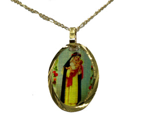 Santa Rosa De Lima Medalla - Saint Rose of Lima 14k Gold Plated Medal with Chain