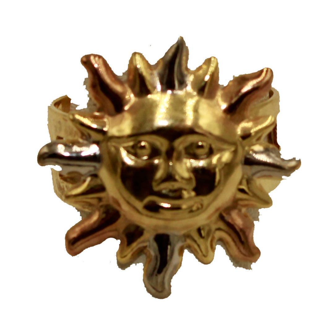 Sun Three Tone 18k Gold Plated Adjustable Ring - Sun 18k Gold Plated Ring
