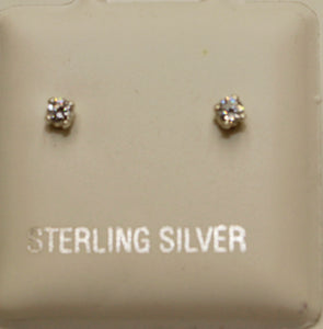Cubic Zirconia 2mm .925 Sterling Silver Stud Earrings - 2mm CZ Earrings
