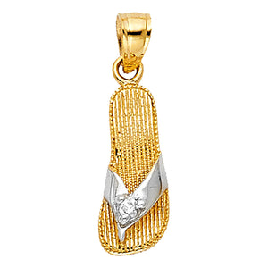 Sandal Pendant with Cubic Zirconia 14k Yellow Gold - Sandal Charm 14k Gold