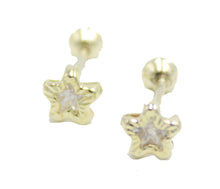 Star Cubic Zirconia 4mm 18k Gold Plated Screw Back Earrings - 4mm Star ScrewBack