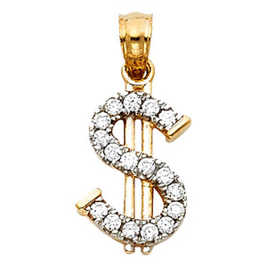 Money Sign Pendant 14k Solid Yellow Gold - Dollar Sign CZ 14k Gold Pendant