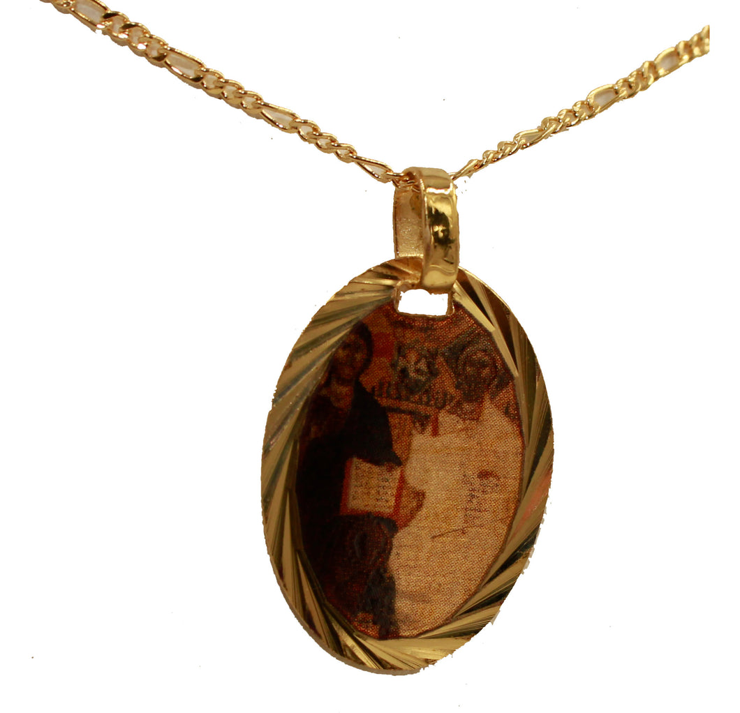 Holy Trinity Medal Pendant 14k Gold Plated Medal with Chain - Santisima Trinidad