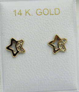 Star with Cubic Zirconia 14k Yellow Gold Screw Back Earrings - Star Moon Studs