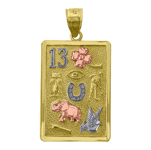 Lucky 7 Talisman Good Luck Pendant 14k Gold Pendant Good Luck Charm