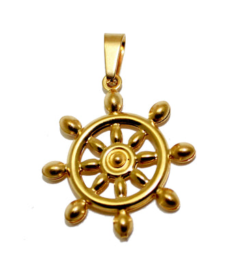 Ship Wheel Nautical Stainless Steel Pendant with 18 inch Chain - Rudder Stainless Steel Necklace