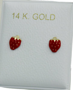 Strawberry 14k Yellow Gold Screw Back Earrings - Strawberry 14k Screw Backs