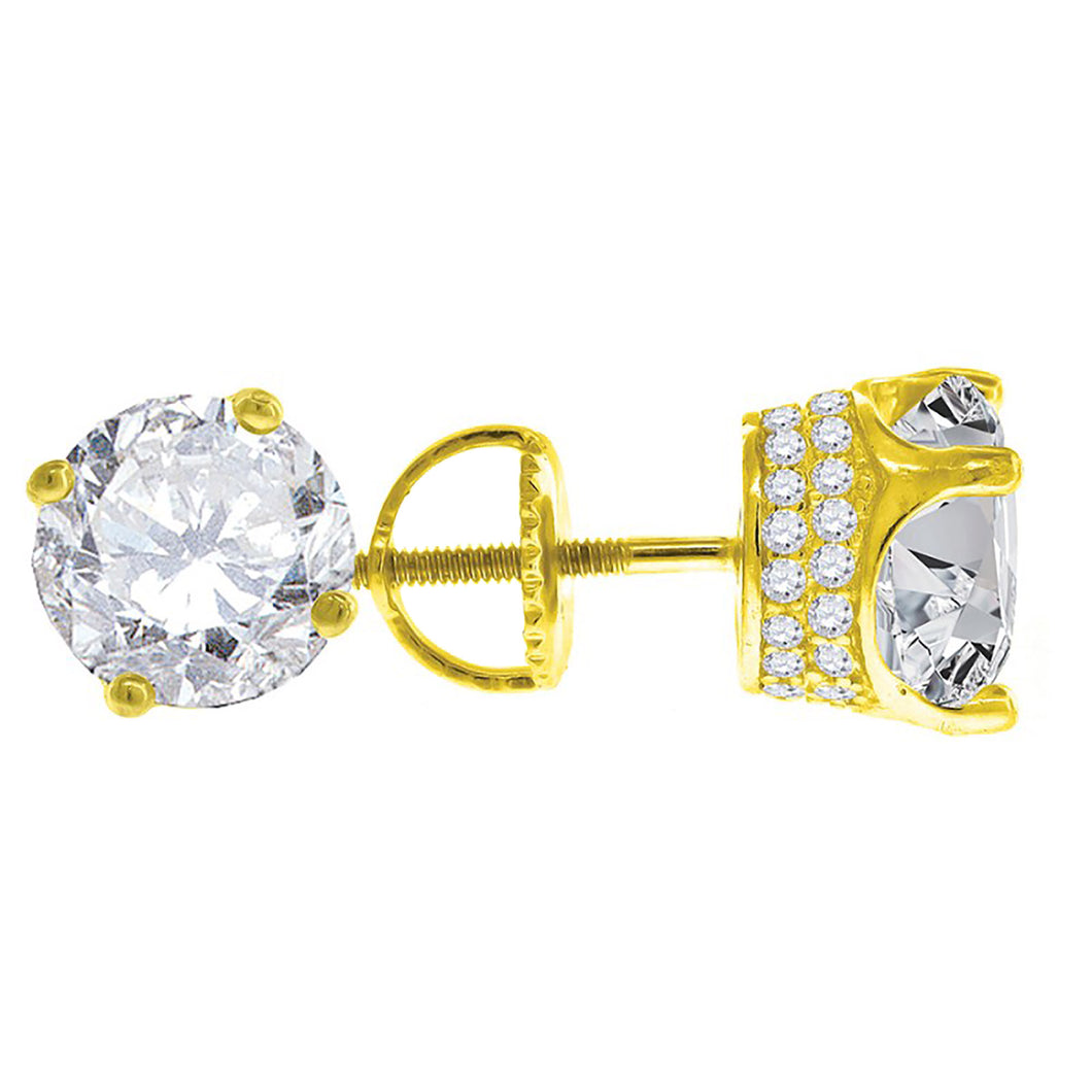 Cubic Zirconia 3mm to 8mm Round .925 Sterling Silver Stud Earrings with Gold Bath
