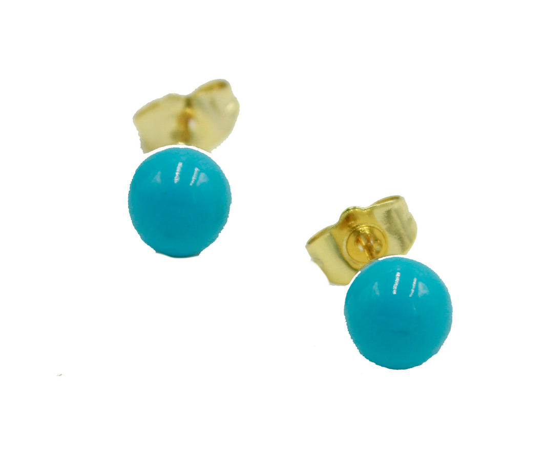 Turquoise Color Ball 7mm Earring 18k Gold Plated Earring - Turquoise Earring