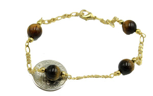 Tigers Eye 8mm Ball 7.5 inch Bracelet 18k Gold Plated - Tigers Eye Ball Bracelet