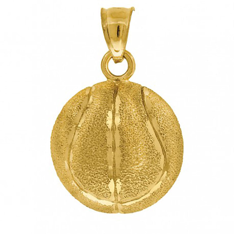 Tennis Ball Sport Pendant 10k Solid Yellow Gold Pendant - Tennis Ball Charm